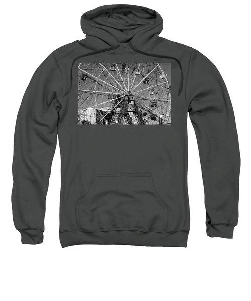 Wonder Wheel Of Coney Island In Black And White Sweatshirt