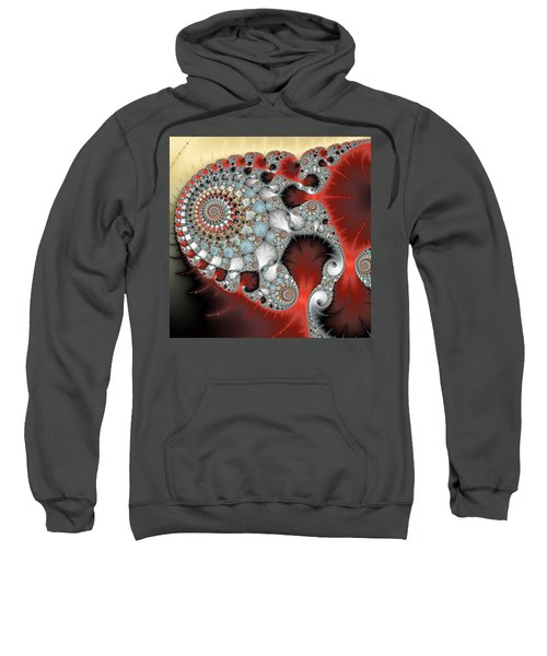 Wonderful Abstract Fractal Spirals Red Grey Yellow And Light Blue Sweatshirt