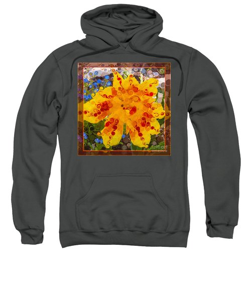 Yellow Lily With Streaks Of Red Abstract Painting Flower Art Sweatshirt