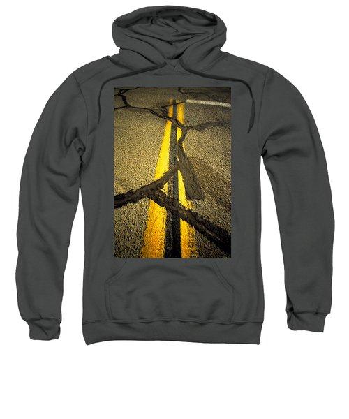 Yellow Lines With Repaired Cracks Sweatshirt
