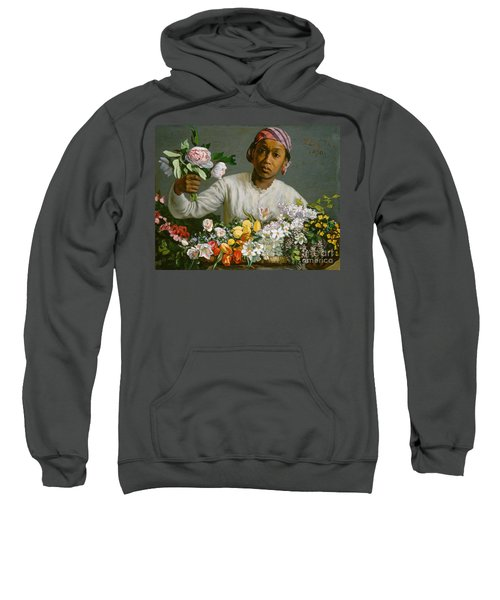 Young Woman With Peonies Sweatshirt