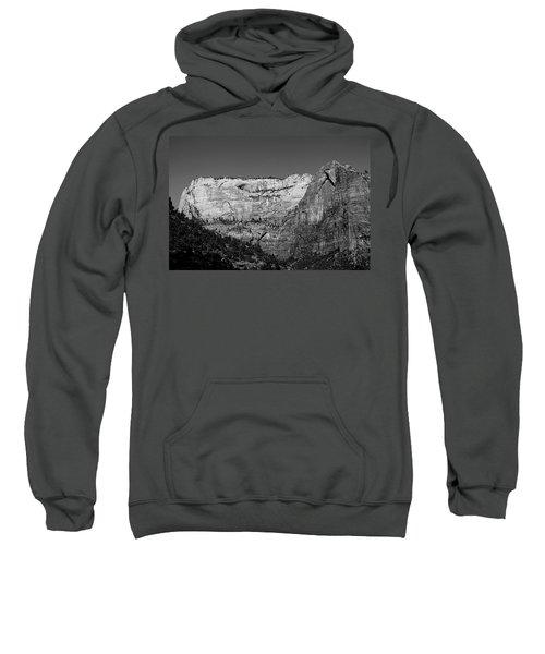 Zion Cliff And Arch B W Sweatshirt