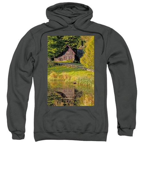 An Old Barn Reflected In The Pond Water Sweatshirt