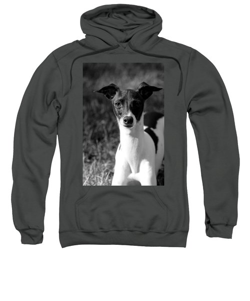 Ethan In Black And White Sweatshirt