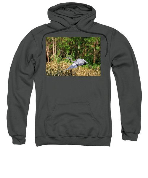 Heron Flying Along The River Bank Sweatshirt