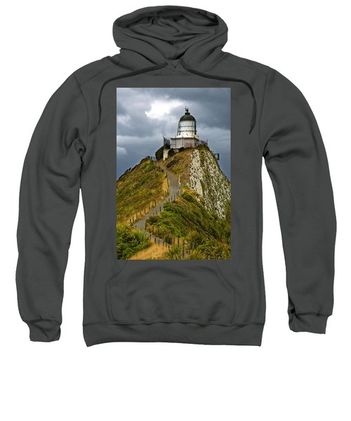 Nugget Point Light House And Dark Clouds In The Sky Sweatshirt
