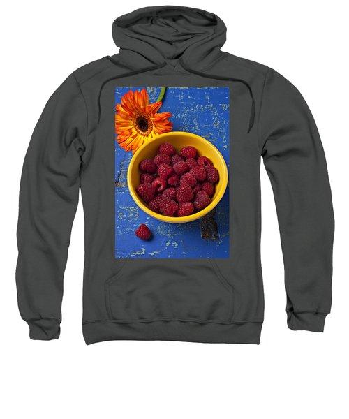 Raspberries In Yellow Bowl Sweatshirt