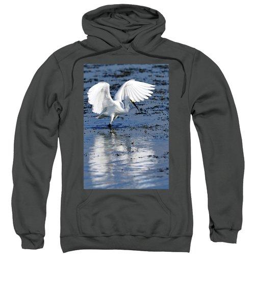 Snowy Egret Fishing Sweatshirt