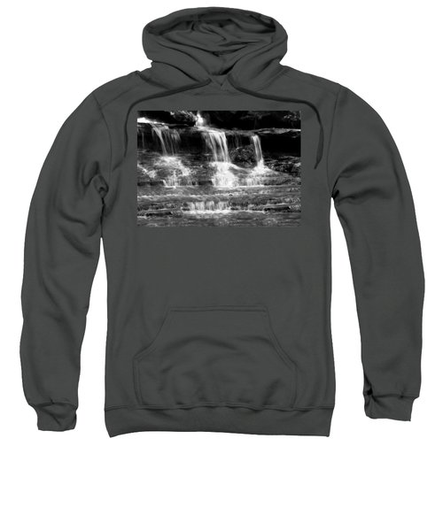 Waterfall Trio At Mcconnells Mill State Park In Black And White Sweatshirt