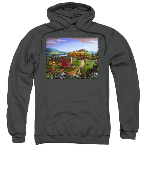 Folk Art Blackberry Patch Rural Country Farm Landscape Painting - Blackberries Rustic Americana Sweatshirt by Walt Curlee