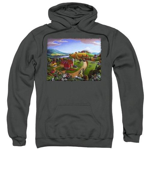 Folk Art Blackberry Patch Rural Country Farm Landscape Painting - Blackberries Rustic Americana Sweatshirt