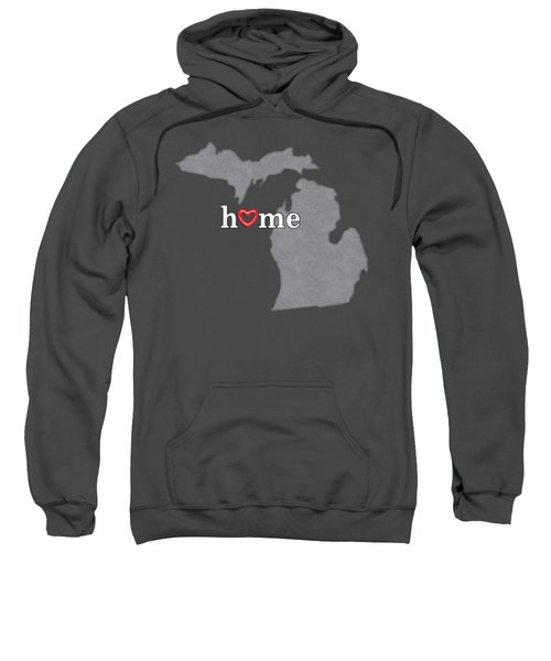 State Map Outline Michigan With Heart In Home Sweatshirt by Elaine Plesser
