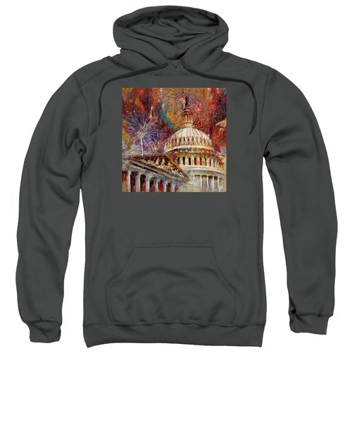 070 United States Capitol Building - Us Independence Day Celebration Fireworks Sweatshirt by Maryam Mughal
