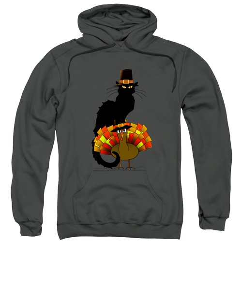 Thanksgiving Le Chat Noir With Turkey Pilgrim Sweatshirt by Gravityx9  Designs