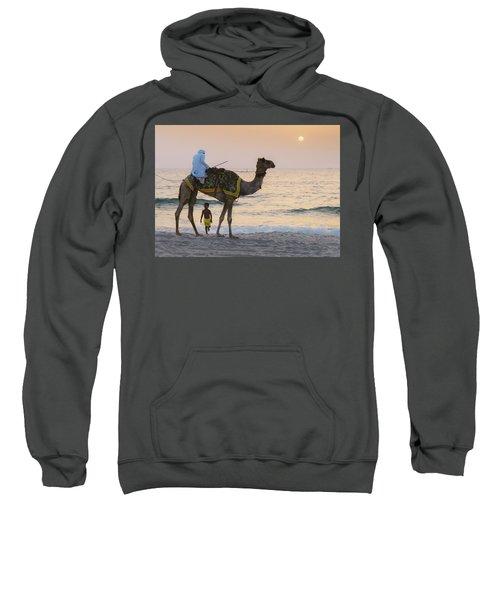 Little Boy Stares In Amazement At A Camel Riding On Marina Beach In Dubai, United Arab Emirates -  Sweatshirt