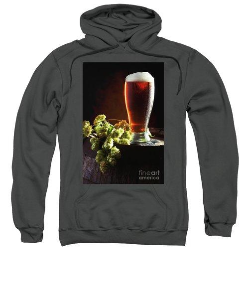 Beer And Hops On Barrel Sweatshirt