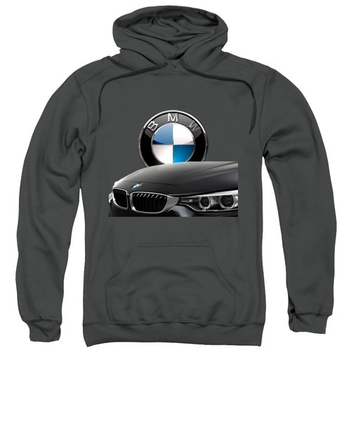 Black B M W - Front Grill Ornament And 3 D Badge On Red Sweatshirt