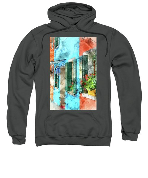 Colorful Houses In Burano Island Venice Italy Sweatshirt