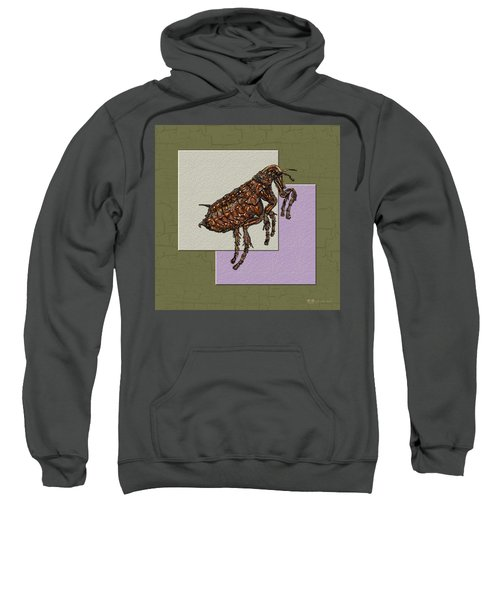 Flea On Abstract Beige Lavender And Dark Khaki Sweatshirt by Serge Averbukh