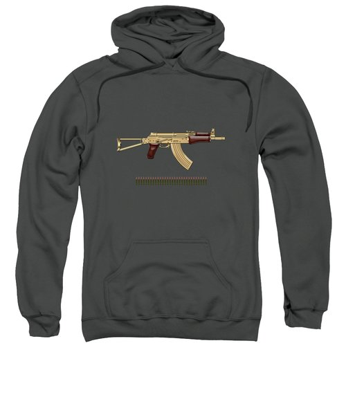Gold A K S-74 U Assault Rifle With 5.45x39 Rounds Over Red Velvet   Sweatshirt