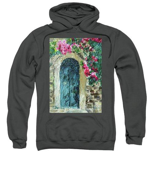 Green Italian Door With Flowers Sweatshirt