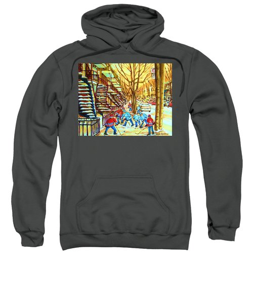 Hockey Game Near Winding Staircases Sweatshirt