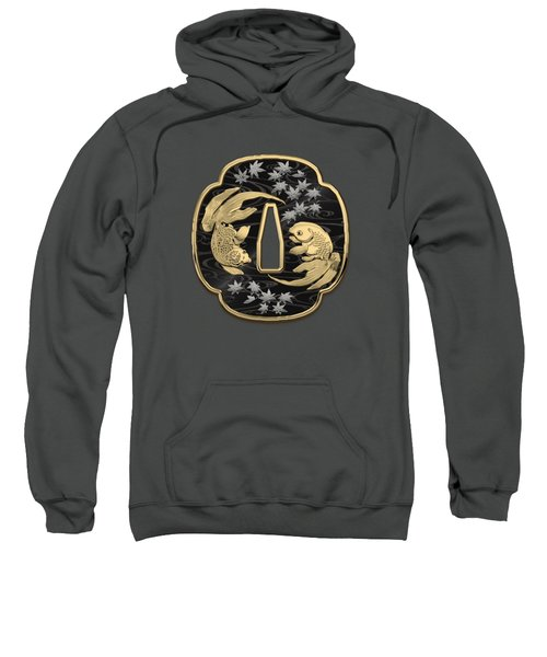 Japanese Katana Tsuba - Twin Gold Fish On Black Steel Over Red Velvet Sweatshirt