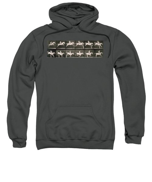 Man And Horse Jumping A Fence Sweatshirt
