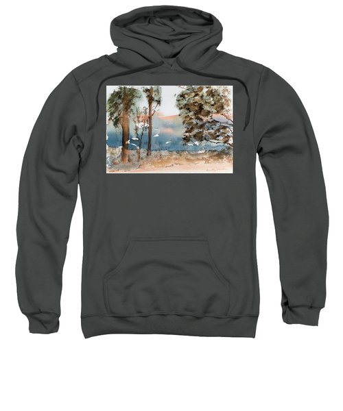 Mt Field Gum Tree Silhouettes Against Salmon Coloured Mountains Sweatshirt