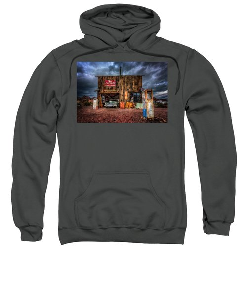 Nelson Nevada, Weathered Garage, Car, And Gas Pump Sweatshirt