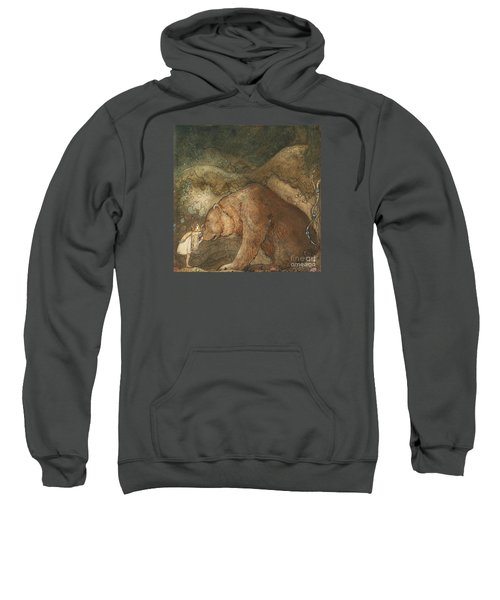 Sweatshirt featuring the painting Poor Little Bear by John Bauer