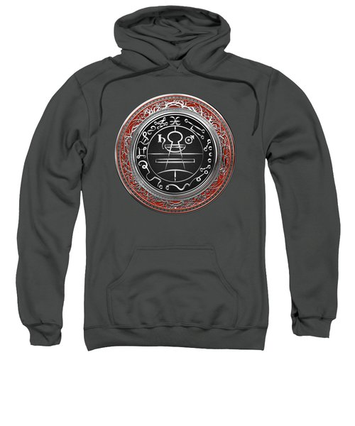 Silver Seal Of Solomon - Lesser Key Of Solomon On Red Velvet  Sweatshirt