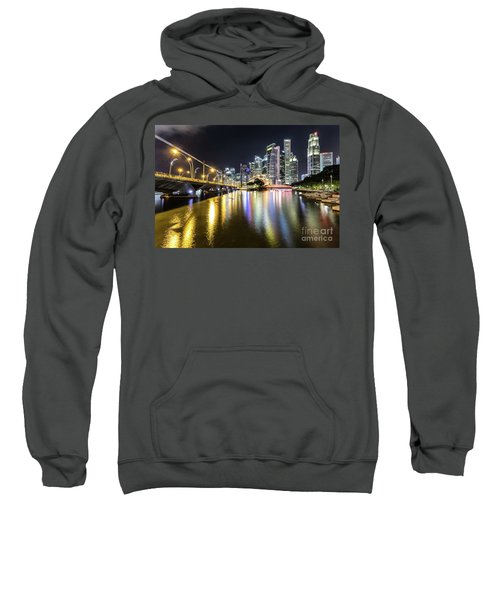 Singapore River At Night With Financial District In Singapore Sweatshirt