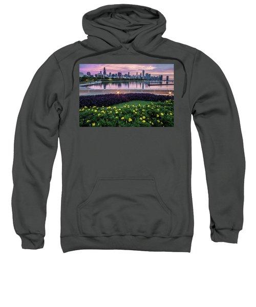 summer flowers and Chicago skyline Sweatshirt