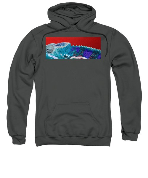 Turquoise Chameleon On Red Sweatshirt by Serge Averbukh