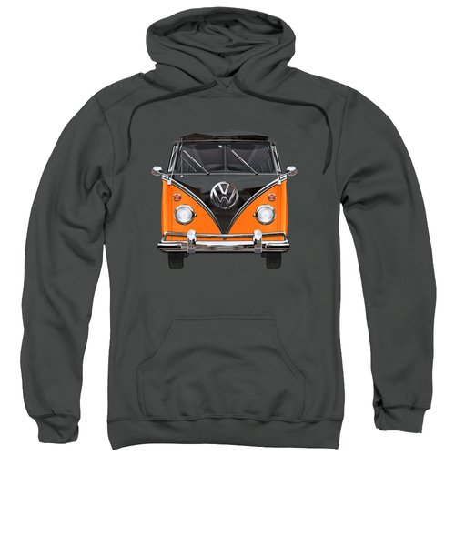 Volkswagen Type 2 - Black And Orange Volkswagen T 1 Samba Bus Over Blue Sweatshirt by Serge Averbukh