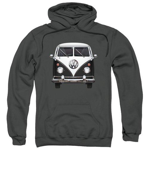 Volkswagen Type 2 - Black And White Volkswagen T 1 Samba Bus On Red  Sweatshirt