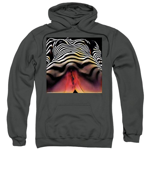 Sweatshirt featuring the digital art 1290s-ak Aroused Woman Vulval Portrait Zebra Striped Woman Rendered In Pastel Style by Chris Maher