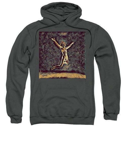 Sweatshirt featuring the digital art 1294s-zac Dancer Midair Leap Nude And Free In The Style Of Antonio Bravo  by Chris Maher