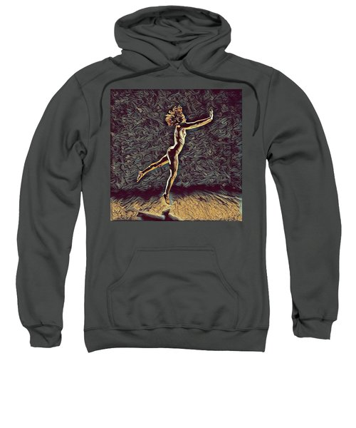 Sweatshirt featuring the digital art 1302s-zak Naked Dancers Leap Nudes In The Style Of Antonio Bravo by Chris Maher