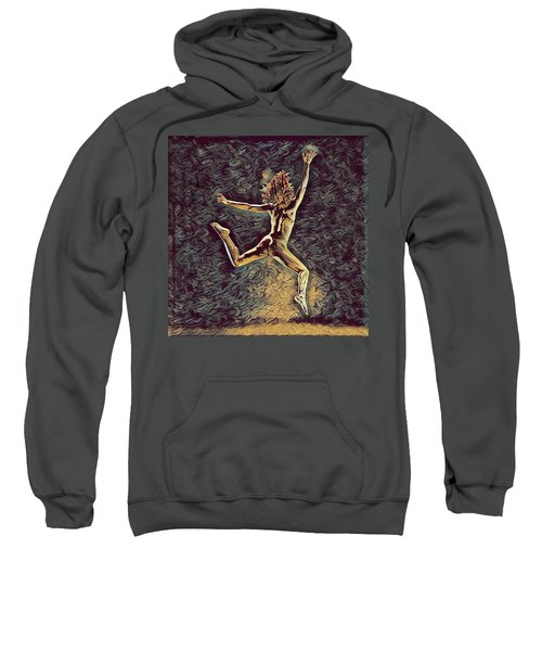 1307s-dancer Leap Fit Black Woman Bare And Free Sweatshirt
