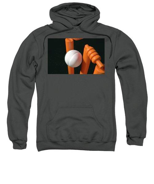 Cricket Ball Hitting Wickets Sweatshirt
