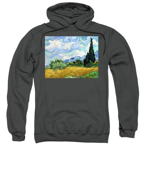 Wheat Field With Cypresses Sweatshirt