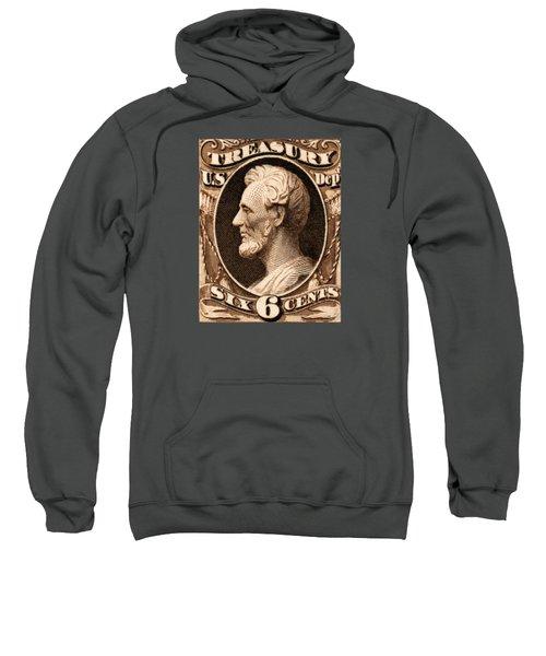 1875 Abraham Lincoln Treasury Department Stamp Sweatshirt by Historic Image