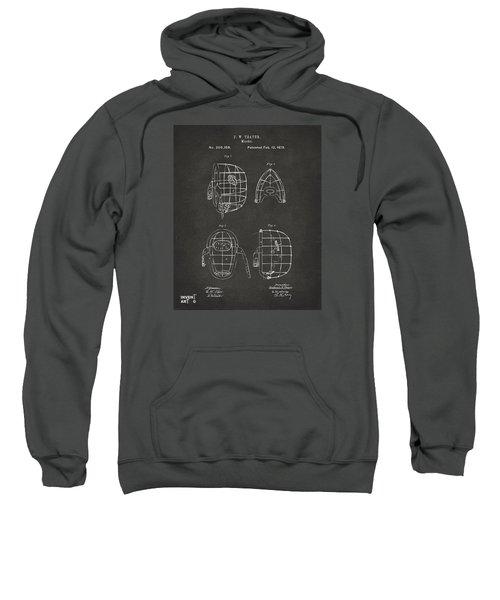1878 Baseball Catchers Mask Patent - Gray Sweatshirt by Nikki Marie Smith