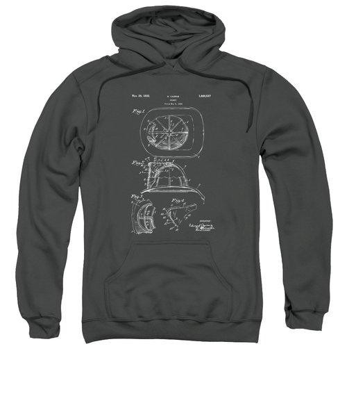 1932 Fireman Helmet Artwork Blueprint Sweatshirt