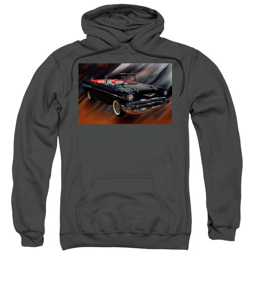 1957 Chevy Bel Air Convertible Digital Oil Sweatshirt