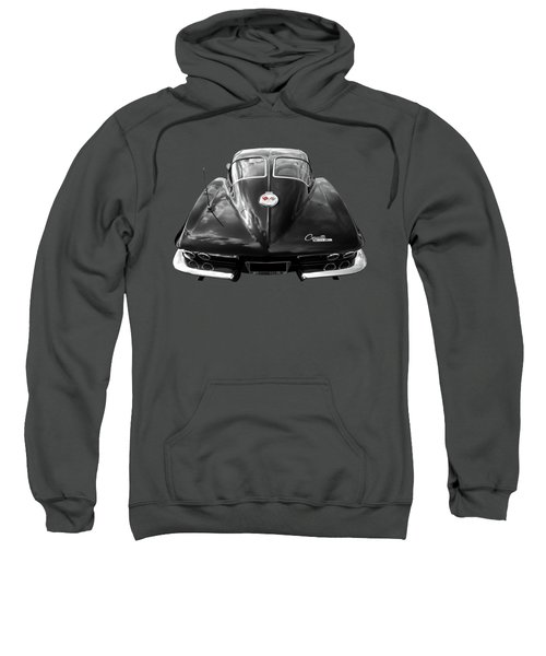 1963 Corvette Stingray Split Window Rear In Black And White Sweatshirt