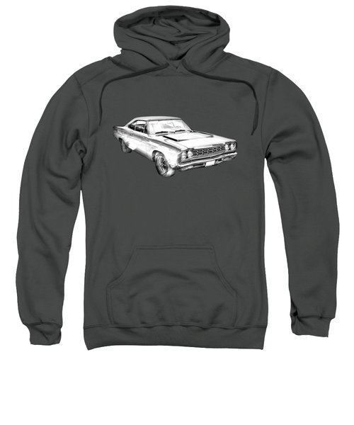 1968 Plymouth Roadrunner Muscle Car Illustration Sweatshirt