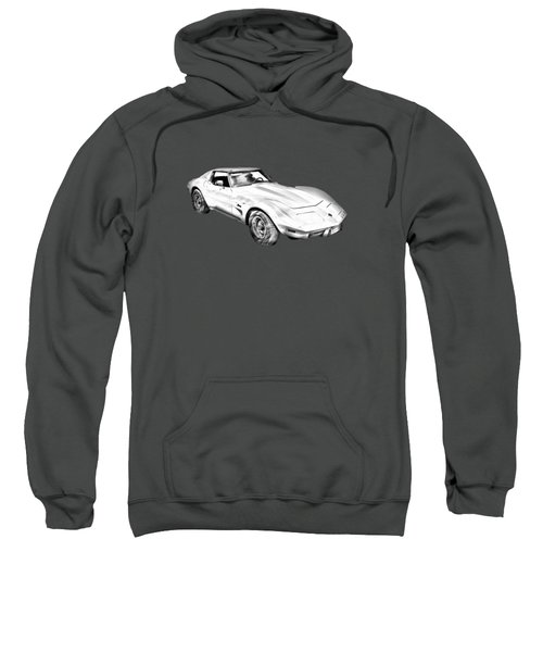 1975 Corvette Stingray Sports Car Illustration Sweatshirt